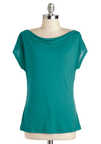 Artistic Retreat Top in Jade - Mid-length, Green, Solid, Casual, Minimal, Variation, Short Sleeve