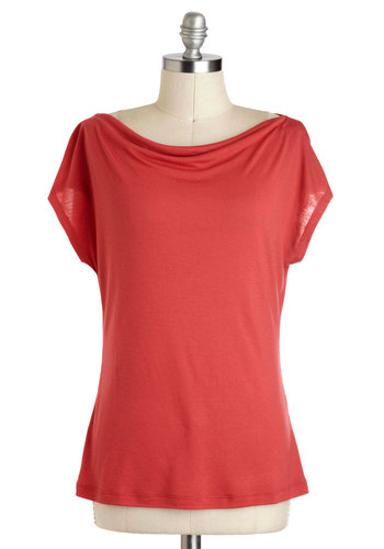 Artistic Retreat Top in Vermilion - Mid-length, Jersey, Red, Solid, Casual, Minimal, Coral, Variation, Short Sleeve