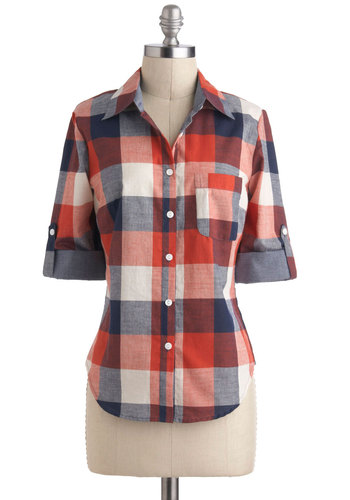 Pie Choose You Top - Cotton, Mid-length, Multi, Red, Blue, White, Casual, Menswear Inspired, 90s, Rustic, Plaid