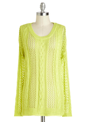 Lovely as Lemongrass Sweater - Green, Solid, Knitted, Long Sleeve, Mid-length, Neon, Travel