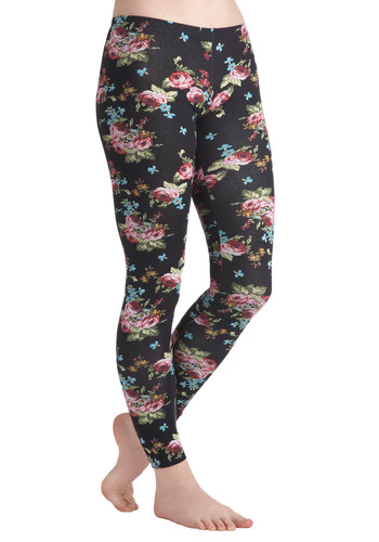 Exquisite Arrangement Leggings - Cotton, Black, Green, Blue, Pink, Floral, Casual, 80s
