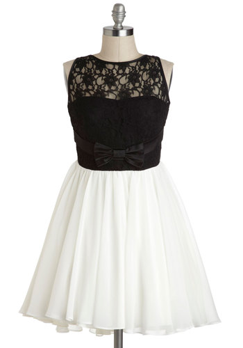 Coda of Conduct Dress - Bows, Lace, Sleeveless, Black, White, Party, Twofer, Fit & Flare, Cocktail, Vintage Inspired, Prom, Summer