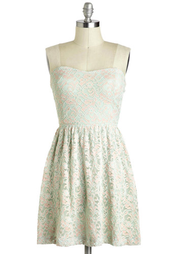 Macaron with the Show Dress - Mint, Pink, Lace, A-line, Strapless, Sweetheart, Bows, Cutout, Pastel, Mid-length, Party, Graduation