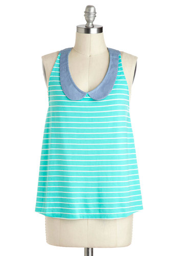 In With the Swim Crowd Top - Blue, Blue, White, Stripes, Peter Pan Collar, Sleeveless, Mid-length, Casual, Beach/Resort, Nautical, Scoop, Summer, Travel