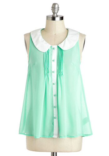 Gumdrop Everything Top - Mint, White, Buttons, Peter Pan Collar, Short Sleeves, Sheer, Mid-length, Work, Daytime Party, Summer