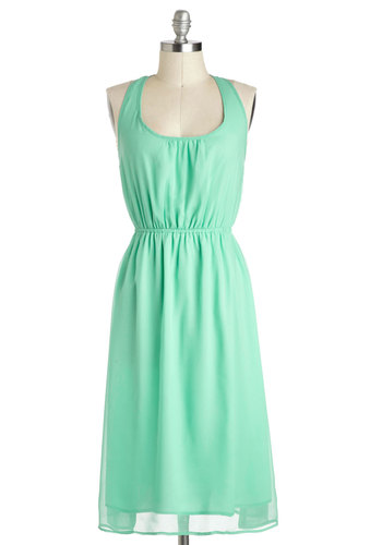 Breathtaking It Easy Dress - Long, Solid, Bows, Pastel, A-line, Racerback, Mint, Scoop, Maxi