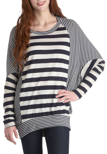 Your Very Own Line Top in Navy - Jersey, Multi, Black, White, Stripes, Casual, 80s, Long, Travel, Winter