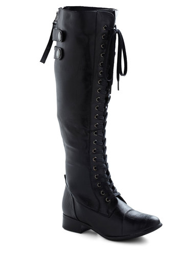Jill Be Nimble Boot in Black - Low, Black, Solid, Steampunk, Faux Leather, Lace Up, Casual, Military, Variation