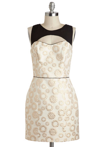 Clockwork Wonder Dress by Corey Lynn Calter - Cream, Black, Gold, Print, Cutout, Party, Sleeveless, Short, A-line, Cocktail, Vintage Inspired, Luxe