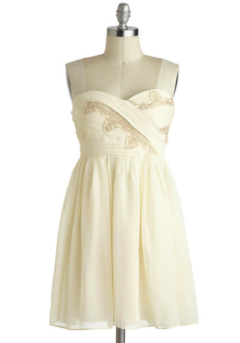 Vanilla Eclair Dress - Cream, Wedding, Party, Strapless, Chiffon, Mid-length, Gold, Lace, A-line, Sweetheart, Prom, Bride