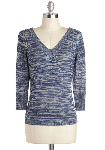 Oceans of Compliments Sweater by Tulle Clothing - Blue, Grey, Bows, Mid-length, Casual, Long Sleeve, V Neck, Cutout, Travel