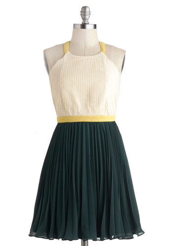 Center of Unconventional Dress - Green, Tan / Cream, Pleats, Party, Twofer, Halter, Short, Prom