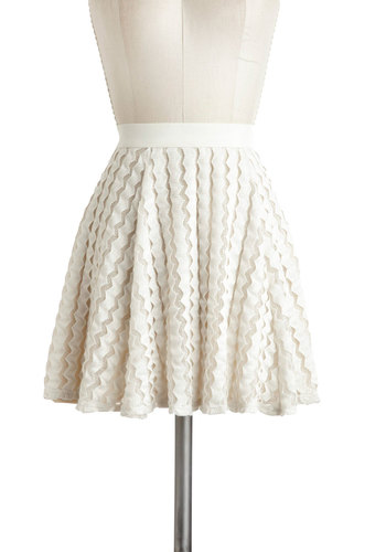 Dream Streamers Skirt - White, Solid, A-line, Casual, Daytime Party, Pastel, Short