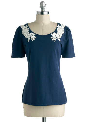 Applique Oneself Top by Tulle Clothing - Blue, Tan / Cream, Cutout, Lace, Short Sleeves, Jersey, Cotton, Mid-length, Work, Casual, Vintage Inspired, Fairytale