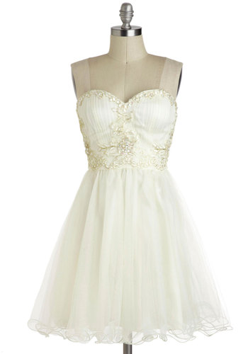 Marshmallow Whirl Dress - Wedding, Short, White, Gold, Embroidery, Sequins, Party, Ballerina / Tutu, Strapless, Sweetheart, Formal, Prom, Bride