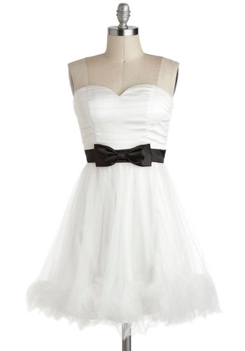Suit Your Fancy Dress - Wedding, Short, White, Black, Bows, Ballerina / Tutu, Strapless, Sweetheart, Prom, Cocktail, Bride