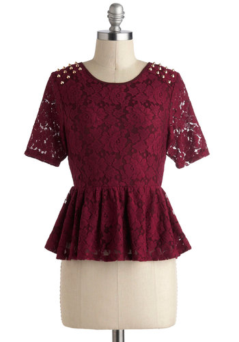 Stud-y Up on Style Top - Red, Solid, Lace, Studs, Peplum, Short Sleeves, Mid-length, Exposed zipper, Party, Urban