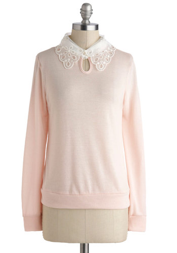 Control, Malt, Delete Sweater - Pink, White, Solid, Lace, Peter Pan Collar, Long Sleeve, Mid-length, Work, Casual, Vintage Inspired, 50s, Pastel, Winter