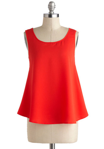 Heart of Class Top - Red, Solid, Cutout, Sleeveless, Mid-length, Bows, Party, Casual, Statement, Summer, Travel