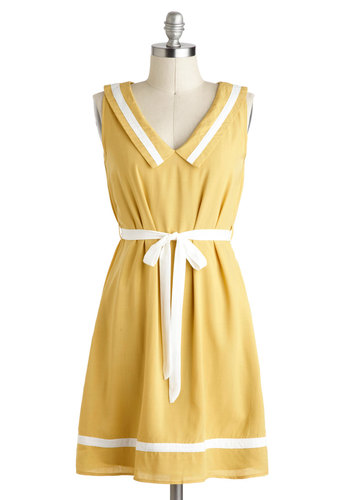 Jonquil and Grace Dress - Yellow, White, Belted, Casual, Sheath / Shift, Sleeveless, Mid-length, Trim, Collared, Nautical, Summer