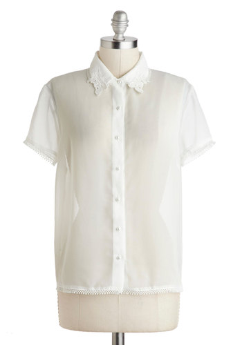 Semester Recital Top - White, Solid, Short Sleeves, Sheer, Mid-length, Work, Casual, Scholastic/Collegiate