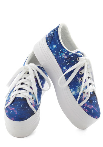 Galaxy and Be Seen Sneaker by Jeffrey Campbell - Blue, Multi, Novelty Print, Platform, Lace Up, Mid