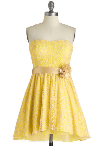 Sweet as Lemon Squares Dress - Yellow, Lace, A-line, Strapless, Tan / Cream, Flower, Belted, Sweetheart, Prom, Wedding, Party, Vintage Inspired, 50s, Fairytale, Floral, Pastel, Bridesmaid