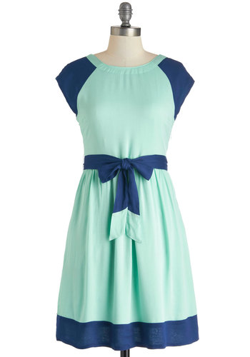 Great Scottsdale Dress by Tulle Clothing - Casual, A-line, Mid-length, Blue, Buttons, Pockets, Belted, Colorblocking, Cap Sleeves, Mint