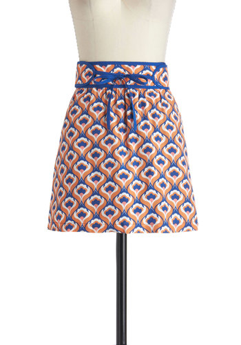 Tie Just Might Skirt by Tulle Clothing - Blue, Orange, White, Floral, Short, Pockets, Casual, Vintage Inspired, 70s, Statement