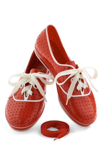 We'll Have a Wiffle Ball Sneaker in Red by Melissa Shoes - Flat, Red, White, Solid, International Designer, Variation