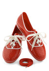 We'll Have a Wiffle Ball Sneaker in Red by Mel Shoes - Flat, Red, White, Solid, International Designer, Variation