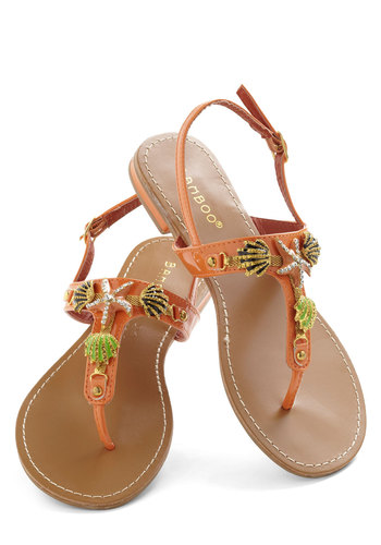To Beach Her Own Sandal - Orange, Multi, Flat, Casual, Beach/Resort, 60s, Vintage Inspired, Leather, Summer