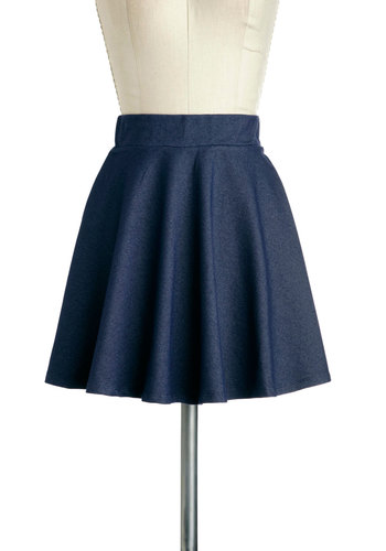 Hangout and About Skirt - Short, Blue, Solid, A-line, Casual, Vintage Inspired, Variation