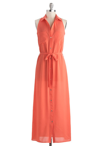 Guava Fresca Dress - Sheer, Long, Orange, Solid, Buttons, Belted, Casual, Maxi, Shirt Dress, Button Down, Racerback, Collared, Beach/Resort, Coral, Summer
