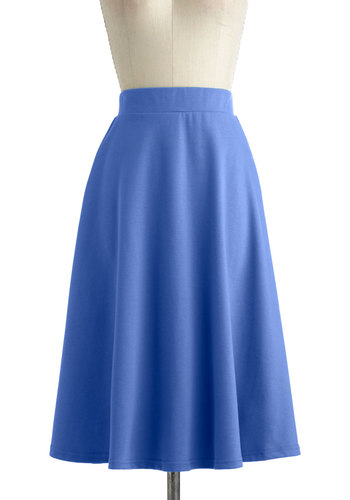 A O-Sway Skirt in Blue Skies - Jersey, Blue, Solid, Work, Casual, Vintage Inspired, Variation, Long, Pinup