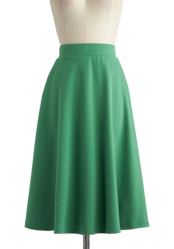 A O-Sway Skirt in Being Green - Long, Green, Solid, A-line, Work, Casual, Variation, Jersey
