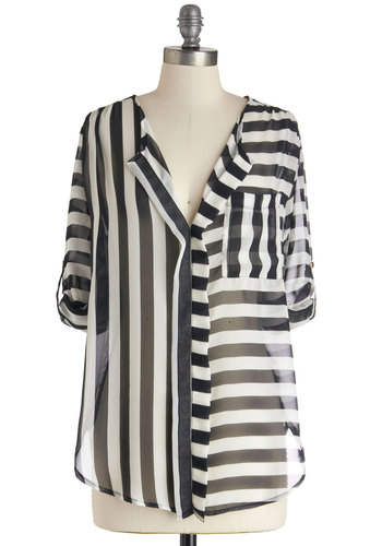 The Absence of Collar Top - Sheer, Mid-length, Multi, Black, White, Stripes, Mod, Work, Travel, White, Tab Sleeve