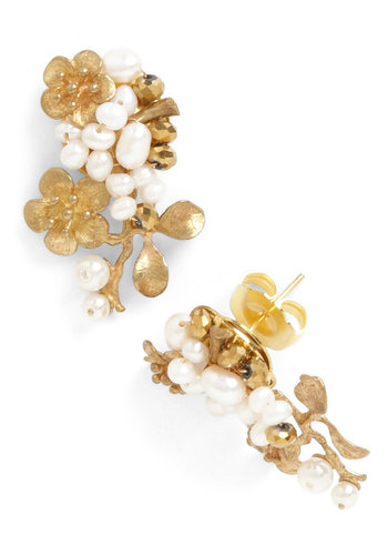 Budding Branches Earrings - Gold, Flower, Pearls, Fairytale, White, Gold