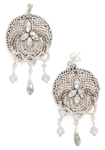 Bead Our Guest Earrings - Beads, Pearls, Rhinestones, Wedding, 20s, Luxe, Silver, Tan / Cream, Vintage Inspired, Formal