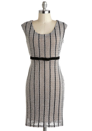 A Fine Parallel Dress - Mid-length, White, Black, Shift, Cap Sleeves, Stripes, Party, Pinup, Vintage Inspired, Work