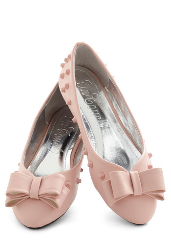 Witty in Pink Flat - Pink, Solid, Bows, Studs, Flat, Graduation