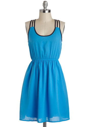 Sight to Sea Dress - Blue, Black, Mid-length, Solid, Casual, A-line, Racerback, Trim, Scoop
