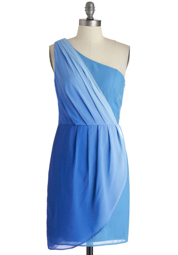 Still Waters Run Chic Dress - Blue, Solid, Pleats, Party, One Shoulder, Mid-length, Wedding, Prom, Bridesmaid