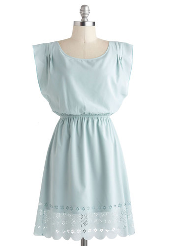 In the Fold Dress - Blue, Solid, Daytime Party, A-line, Cap Sleeves, Spring, Mid-length, Pastel, Mint