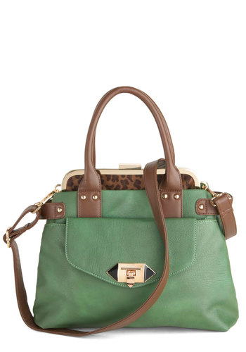 Green of the Jungle Bag - Green, Brown, Solid, Animal Print, Leather, Faux Leather, Work