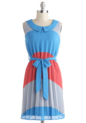 Deco of the Past Dress - Blue, Red, Grey, Peter Pan Collar, Pleats, Belted, Casual, Colorblocking, Sleeveless, Collared, Mid-length, Summer