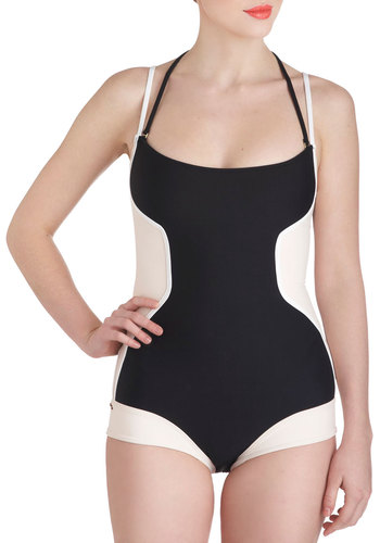 Backstroke of Dawn One Piece - Black, White, Solid, Colorblocking, Tan / Cream, Halter, Summer, Beach/Resort, Vintage Inspired