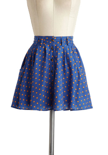 You Dot to Know Skirt - Blue, Pink, Polka Dots, Buttons, A-line, Short, Pockets
