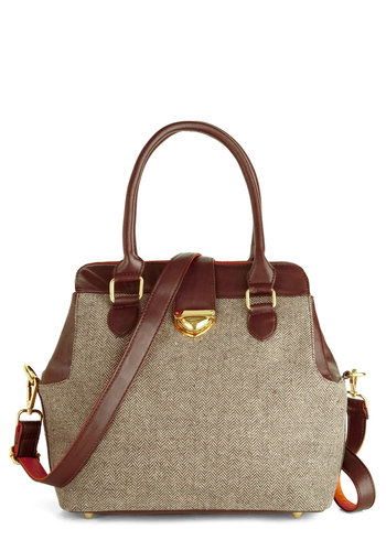 Work It and Play Bag - Brown, Gold, Herringbone, Buckles, Work