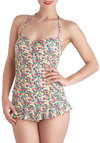 Splashed With Color One Piece - Multi, Floral, Ruffles, Summer, Pinup, Vintage Inspired